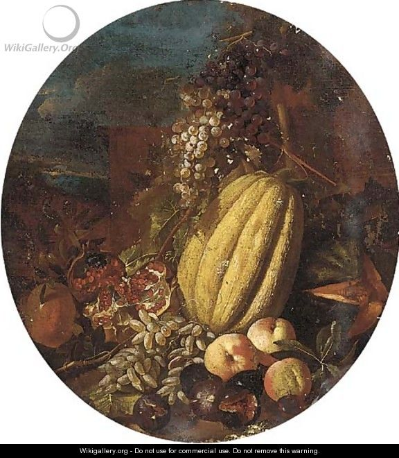 Melons, pomegranates, grapes, figs and apples in a clearing - (after) Michele Pace Del (Michelangelo Di) Campidoglio