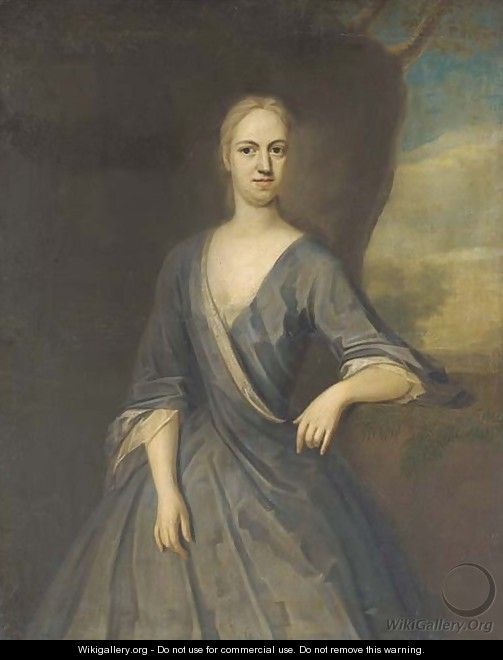 Portrait of Mary Frederick, Mrs Powell, three-quarter-length, in a blue dress, her left arm on a plinth, with a landscape beyond - (after) Dahl, Michael