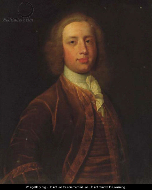 Portrait of a gentleman, half-length, in a brown coat and waistcoat and white stock - (after) Dahl, Michael