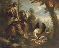 Poultry and other birds feeding amongst classical ruins - (after) Nicolo Casissa