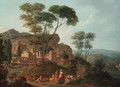 An Italianate landscape with figures resting by a fountain, a town beyond - (after) Nicolas-Didier Boguet