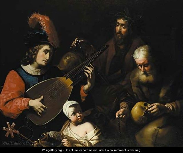 A young man playing a theorbo-lute - (after) Nicolas Tournier