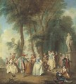 Elegant company dancing before an arbour - (after) Lancret, Nicolas