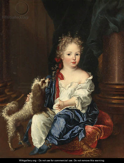 Portrait of a girl with a poodle, full-length, seated, in a white chemise and blue shawl - (after) Largilliere, Nicholas de