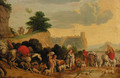Travellers with goats, cattle and dogs on a track - (after) Nicolaes Moyart