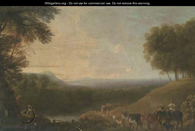 A wooded river landscape with a drover and cattle on a track - (after) Nicolaes Berchem