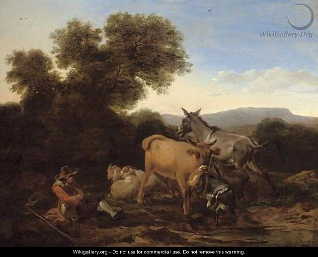 A wooded landscape with a shepherd and his flock resting - (after) Nicolaes Berchem