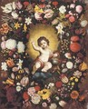 A garland of flowers surrounding an image of the Infant Christ - (after) Nicolaas Van Veerendael