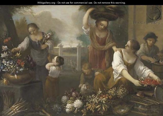 Women and children arranging flowers in the grounds of a building - (after) Nicola Cassisa