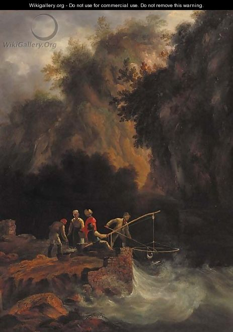 Fishermen netting fish off a rocky ledge in a mountainous wooded landscape - (after) Condy, Nicholas Matthews