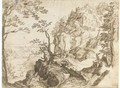 A mountain landscape with a fortified chapel - (after) Paul Bril