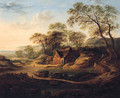 A Wooded Landscape With A Watermill, A Drover With Cattle, A Coastal Hamlet Beyond - (after) Patrick Nasmyth