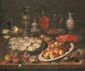 Oysters, peaches, cherries, redcurrants and olives on plates - (after) Osias, The Elder Beert