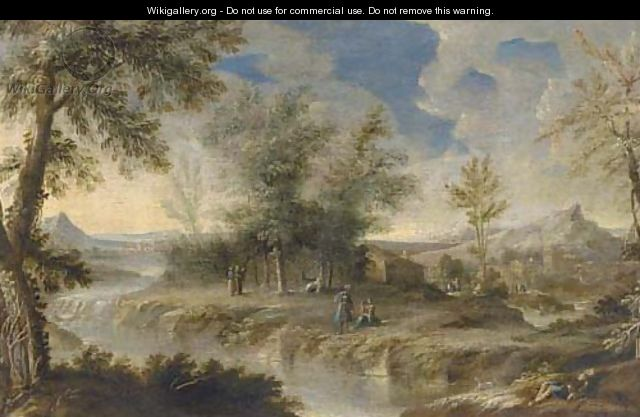 A wooded river landscape with figures on the river bank - (after) Orazio Grevenbroeck