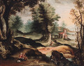 A landscape with the Rest on the Flight into Egypt - (after) Paolo Fiammingo