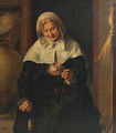 An old lady carding wool in an interior - (after) Louis Lenain