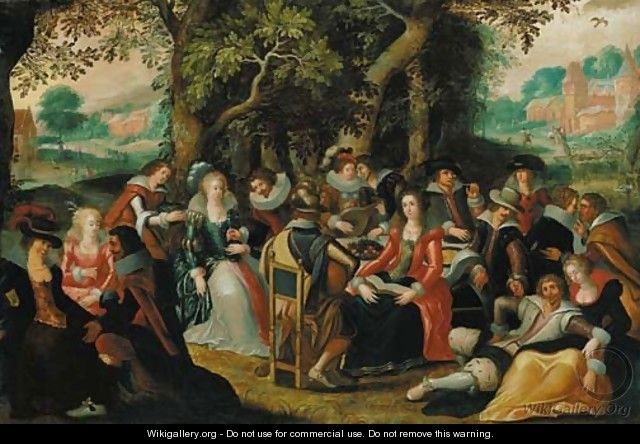 Elegant company feasting in a forest, a clearing beyond - (after) Louis De Caullery