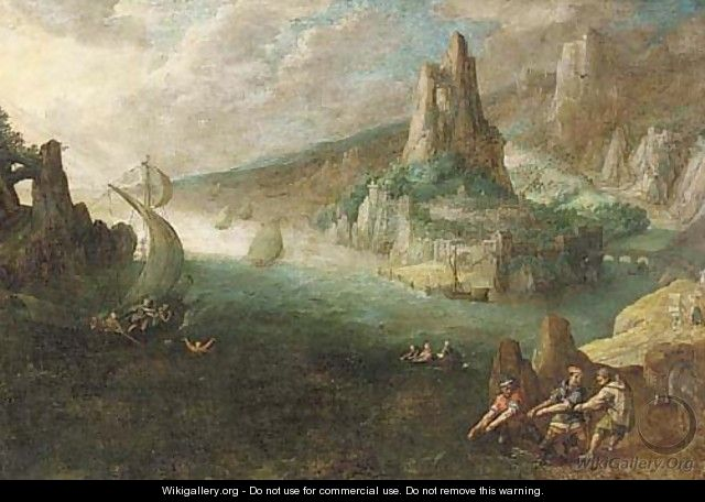 A coastal landscape with a sailor overboard and fishermen on the shore - (after) Lodovico Pozzoserrato (see Toeput, Lodewijk)