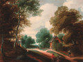A wooded landscape with travellers conversing on a track - (after) Lodewijk De Vadder