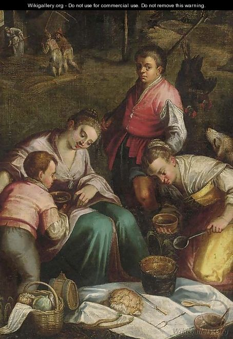 Farm hands eating with harvesters beyond - (after) Jacopo Bassano (Jacopo Da Ponte)