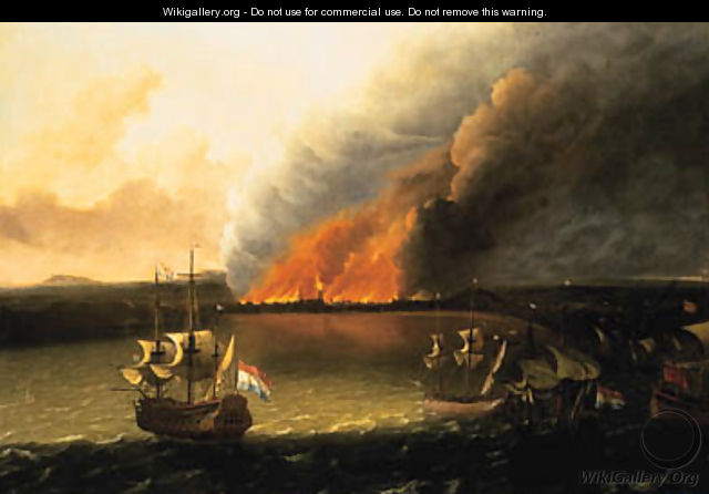 Dutch Men-of-War pursuing a British Man-of-War, a town burning beyond, possibly the Dutch raid on Chatham in 1667 - (after) Ludolf Backhuyzen