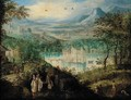 An extensive mountain landscape with elegant company at the vendage, a castle beyond - (after) Lucas Van Valckenborch