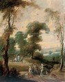 A wooded landscape with a hawking party on a track - (after) Lucas Van Uden