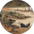 A view of the Schelde near Antwerp with the Miraculous Draught of Fishes - (after) Lucas Gassel
