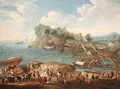 A Mediterranean coastal Landscape with Levants and Shipbuilders in the foreground - (after) Lucas De Wael