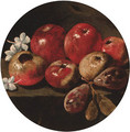 Apples, plums and blossom on a stone ledge - (after) Luca Forte