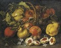 A pear, apples and plums in a woven basket, with figs, jasmine, pears and plums below - (after) Luca Forte