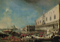 The Grand Canal, Venice, with the reception of the French ambassador into the Ducal Palace - (after) Luca Carlevarijs
