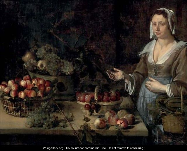 A serving girl next to a table with baskets of melons, plums, peaches, apples and grapes - (after) Louise Moillon