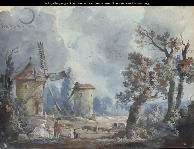 Figures in a stormy landscape with windmills; and Figures in a landscape with a donkey drinking at a fountain - (after) Louis Nicolael Van Blarenberghe