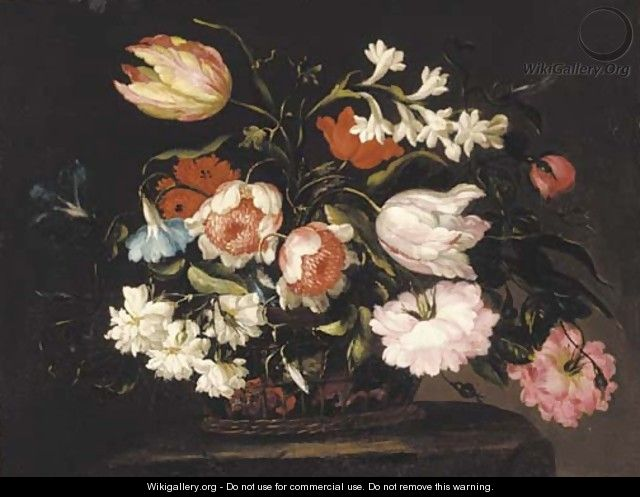 Roses, tulips, morning glory and other flowers in a basket on a stone pedestal - (follower of) Nuzzi, Mario