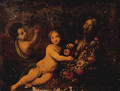 Putti with Carnations, Lilies, Tulips, Peonies and other Flowers - (follower of) Nuzzi, Mario