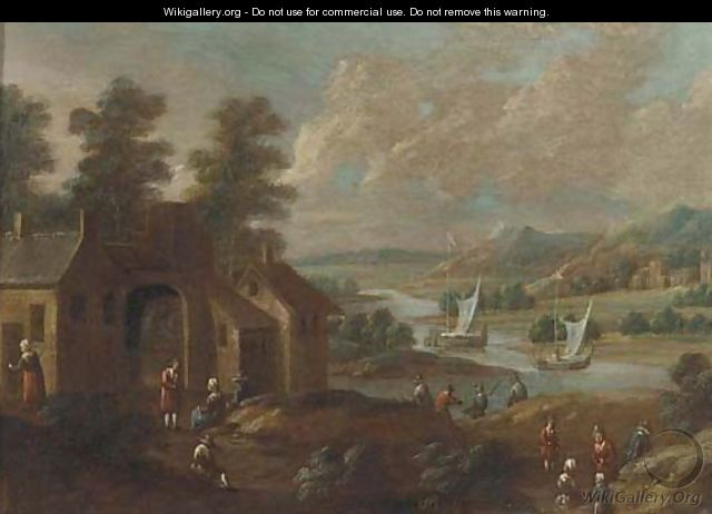 An extensive river landscape with figures by a village - (after) Marc Baets