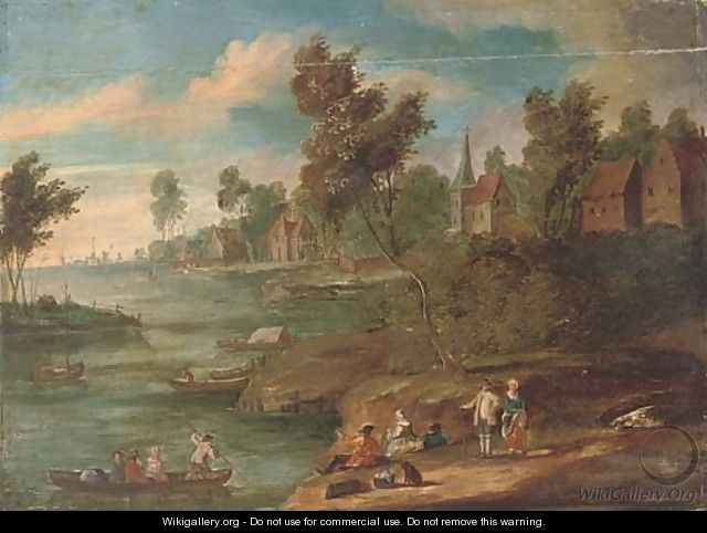 A river landscape with figures at rest on the river bank, a town beyond - (after) Marc Baets