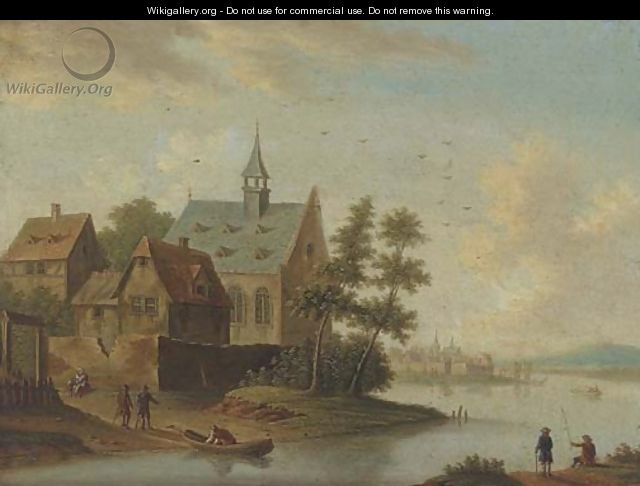 A river landscape with a village and anglers - (after) Marc Baets