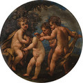 Putti disporting in landscapes - (after) Marcantonio Franceschini