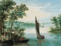 An extensive river landscape with peasants at a landing stage, a town beyond - (after) Maerten Ryckaert