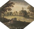 A wooded landscape with travellers in a wagon by a pond, a castle beyond - (after) Maerten Ryckaert