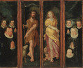 Saint John the Baptist and Saint Margret with donors - a set of four compartments from an altarpiece - (after) Maarten De Vos