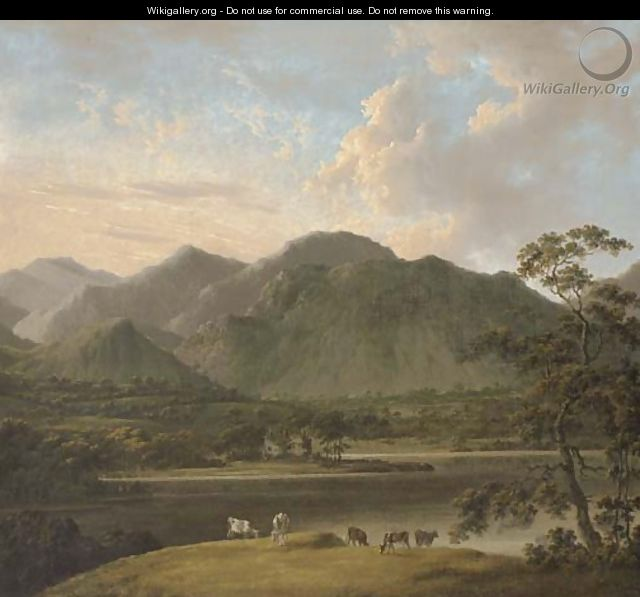 View of Coniston and Weatherlam, with cattle in the foreground, and Coniston Old Hall beyond - (after) John Rathbone