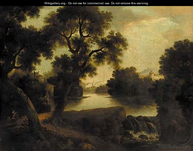A figure on a riverside path in a classical landscape - (after) John Rathbone
