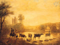 A Herdsman With Cattle Watering In A River, A Castle Beyond - (after) John Inigo Richards