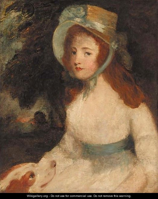 Portrait of a lady, three-quarter-length, in a white dress and bonnet, a dog at her side, in a landscape - (after) Hoppner, John