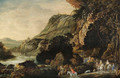 An extensive rocky river landscape with an elegant party on horseback on a track - Joos Or Josse De, The Younger Momper