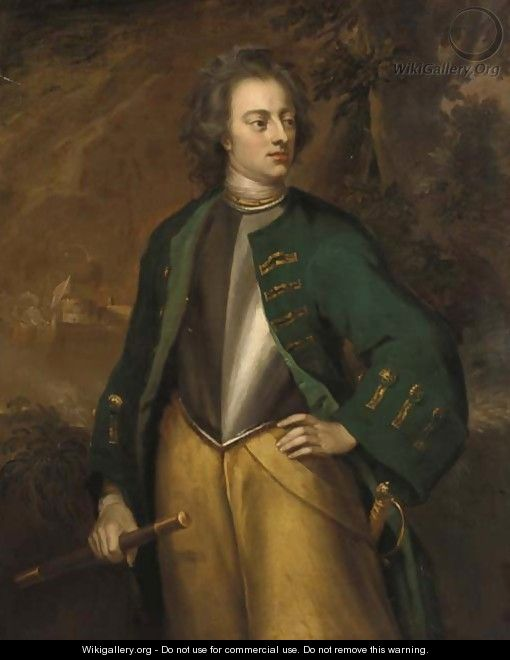 Portrait of a gentleman, standing three-quarter-length, in a green coat and breastplate, holding a baton, a battle raging beyond - (after) Richardson. Jonathan