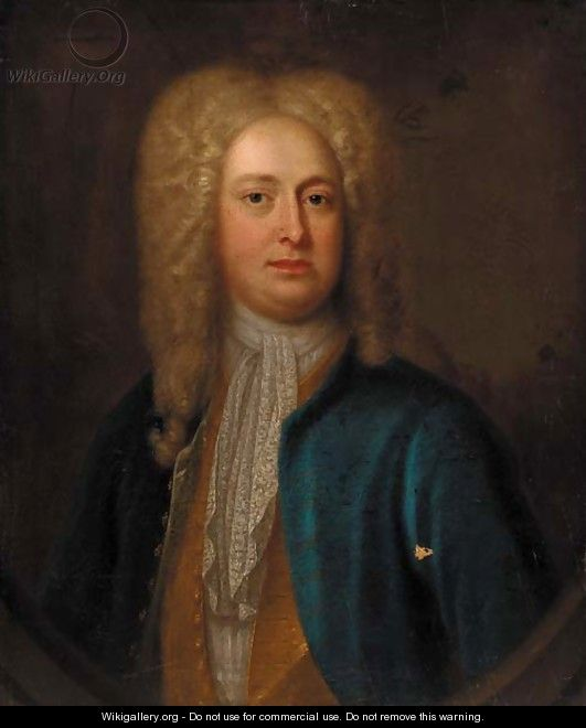Portrait of a gentleman, quarter-length, in a blue coat and gold waistcoat, feigned oval - (after) Richardson. Jonathan
